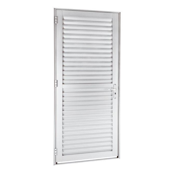 Porta-de-Aluminio-de-Abrir-Veneziana-Alumifort-Branca-1-Folha-Abertura-Direita-216x88x54---Sasazaki