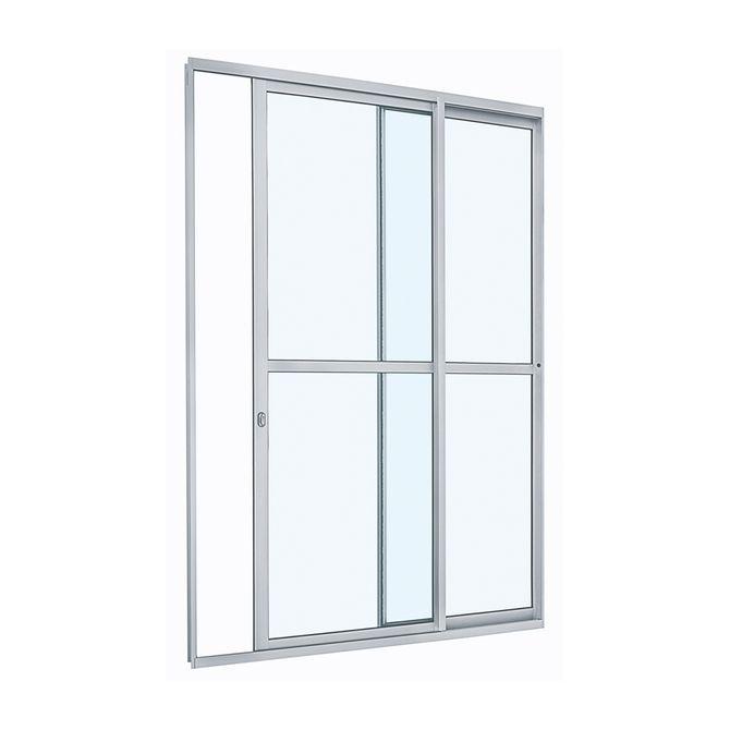Porta-de-Aluminio-de-Correr-Alumifit-Branca-com-Divisao-Central-2-Folhas-Abertura-Direita-216x160x6---Sasazaki