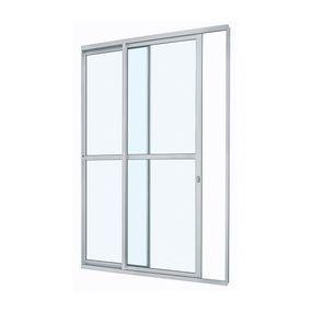 Porta-de-Aluminio-de-Correr-Alumifit-Branca-com-Divisao-Central-2-Folhas-Abertura-Esquerda-216x160x6---Sasazaki