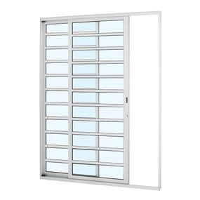 Porta-de-Aluminio-de-Correr-Alumifort-Branca-com-Divisao-2-Folhas-Abertura-Esquerda-216x160x87---Sasazaki