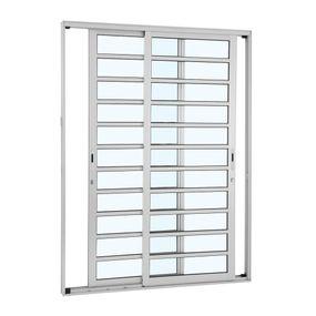 Porta-de-Aluminio-de-Correr-Alumifort-Branca-com-Divisao-2-Folhas-Moveis-216x160x92---Sasazaki