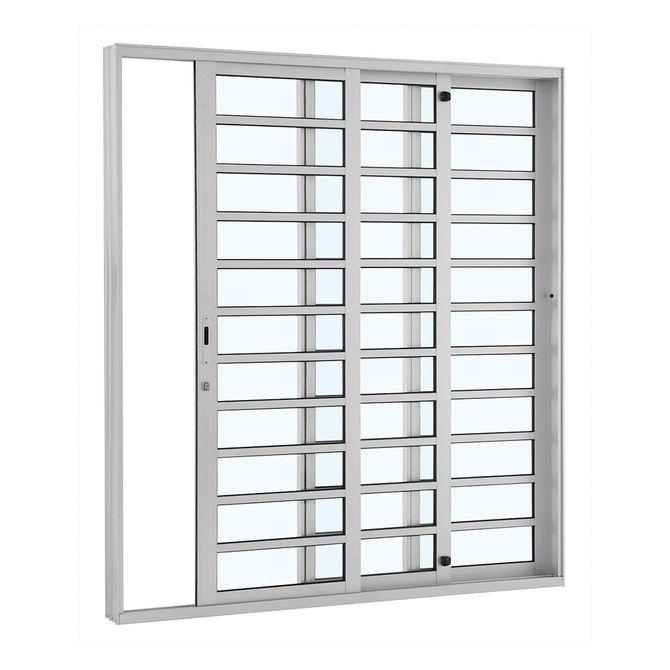 Porta-de-Aluminio-de-Correr-Alumifort-Branca-com-Divisao-3-Folhas-Abertura-Direita-216x200x12---Sasazaki