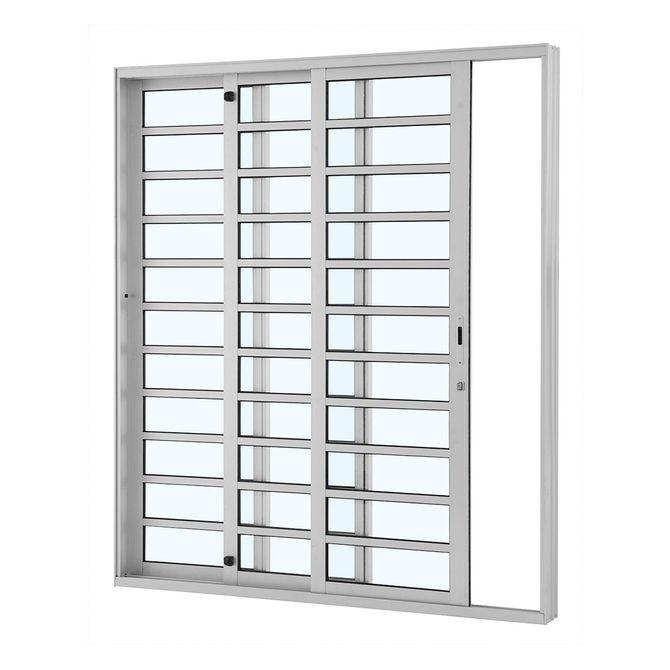 Porta-de-Aluminio-de-Correr-Alumifort-Branca-com-Divisao-3-Folhas-Abertura-Esquerda-216x200x12---Sasazaki