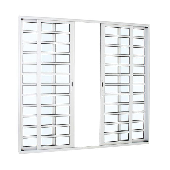 Porta-de-Aluminio-de-Correr-Alumifort-Branca-com-Divisao-4-Folhas-216x250x87---Sasazaki