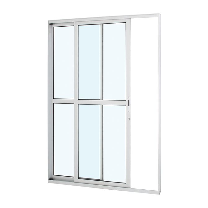 Porta-de-Aluminio-de-Correr-Alumifort-Branca-com-Divisao-Central-2-Folhas-Abertura-Esquerda-216x160x87---Sasazaki