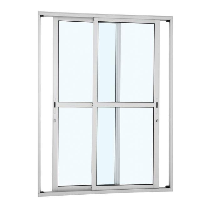 Porta-de-Aluminio-de-Correr-Alumifort-Branca-com-Divisao-Central-2-Folhas-Moveis-216x160x92---Sasazaki