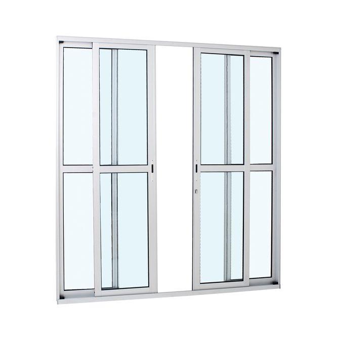 Porta-de-Aluminio-de-Correr-Alumifort-Branca-com-Divisao-Central-4-Folhas-216x200x87---Sasazaki