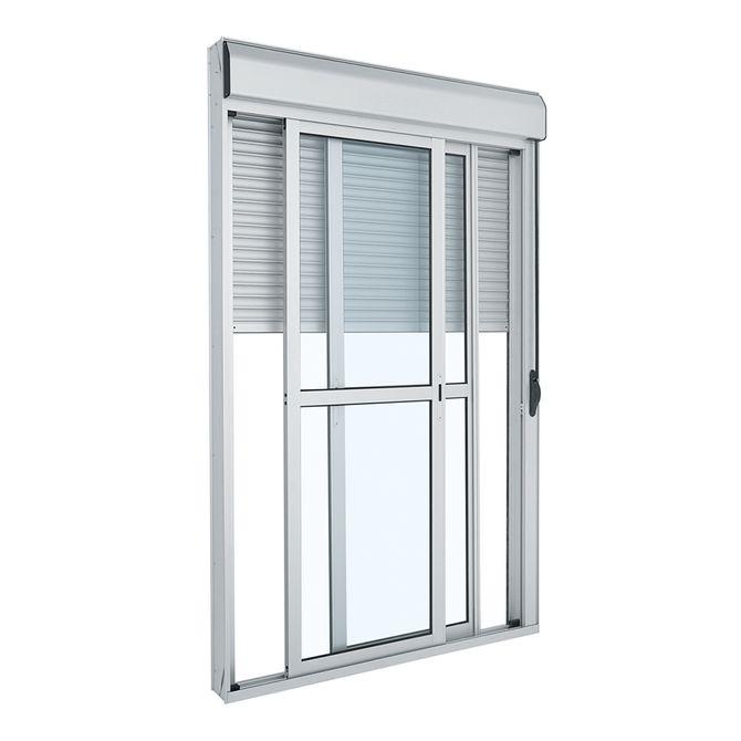 Porta-de-Aluminio-de-Correr-Alumifort-Branca-Integrada-3-Folhas-237x150x14---Sasazaki
