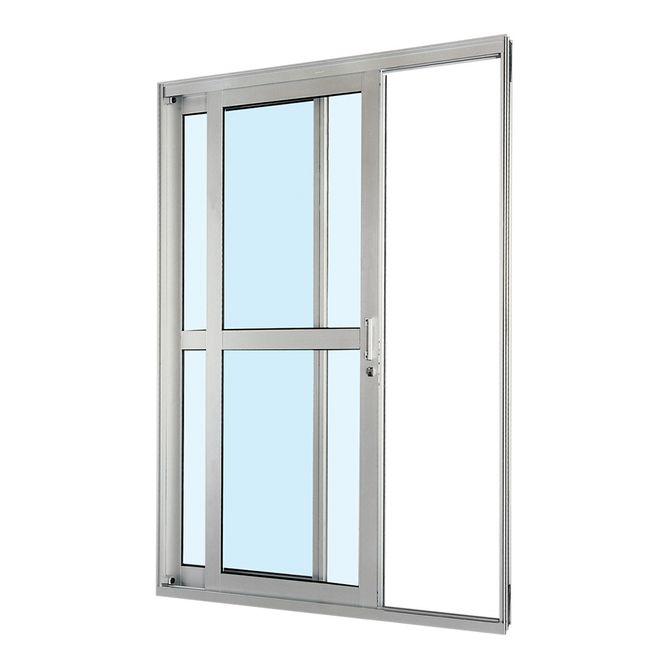 Porta-de-Aluminio-de-Correr-Aluminium-Natural-com-Divisao-Central-2-Folhas-Abertura-Esquerda-217x160x12---Sasazaki