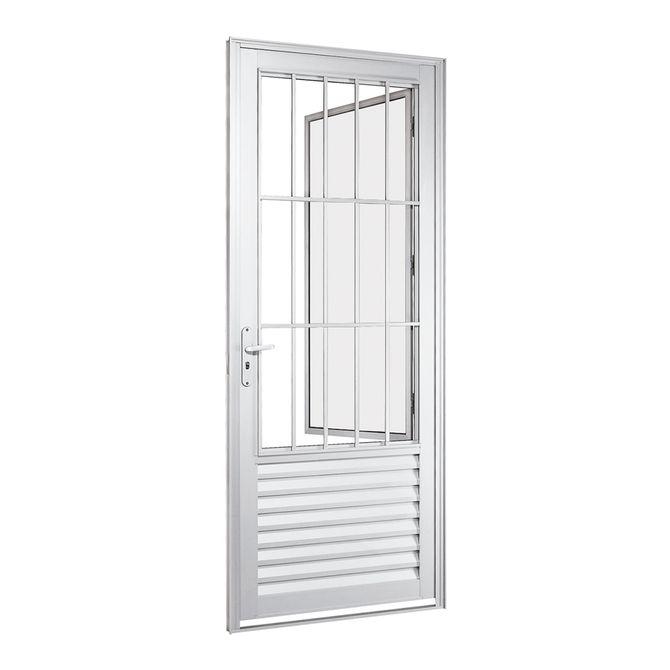 Porta-Social-de-Aluminio-de-Abrir-Alumifort-Branca-com-Postigo-com-Grade-Classic-1-Folha-Abertura-Direita-216x88x54---Sasazaki