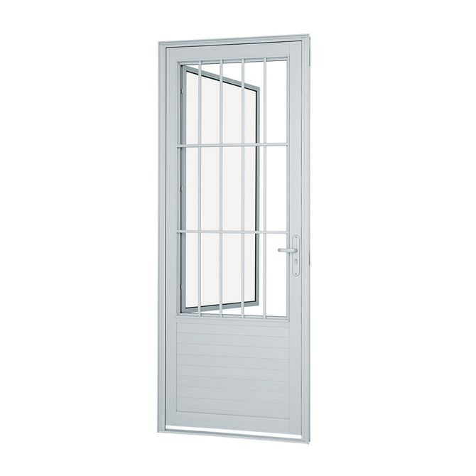 Porta-Social-de-Aluminio-de-Abrir-Alumifort-Branca-com-Postigo-com-Lambri-Horizontal-com-Grade-Classic-1-Folha-Abertura-Esquerda-216x88x54---Sasazaki