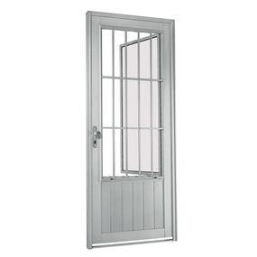Porta-Social-de-Aluminio-de-Abrir-Aluminium-Natural-com-Almofada-com-Postigo-com-Grade-Cassic-1-Folha-Abertura-Direita-217x88x8---Sasazaki