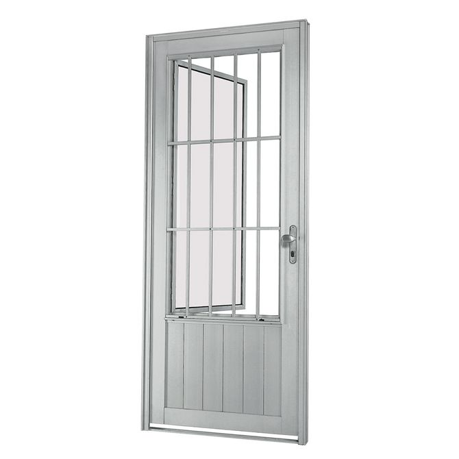 Porta-Social-de-Aluminio-de-Abrir-Aluminium-Natural-com-Almofada-com-Postigo-com-Grade-Cassic-1-Folha-Abertura-Esquerda-217x88x8---Sasazaki