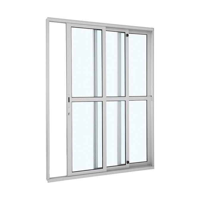 Porta-de-Aluminio-de-Correr-Alumifort-Branca-com-Divisao-Central-3-Folhas-Abertura-Direita-216x160x125---Sasazaki