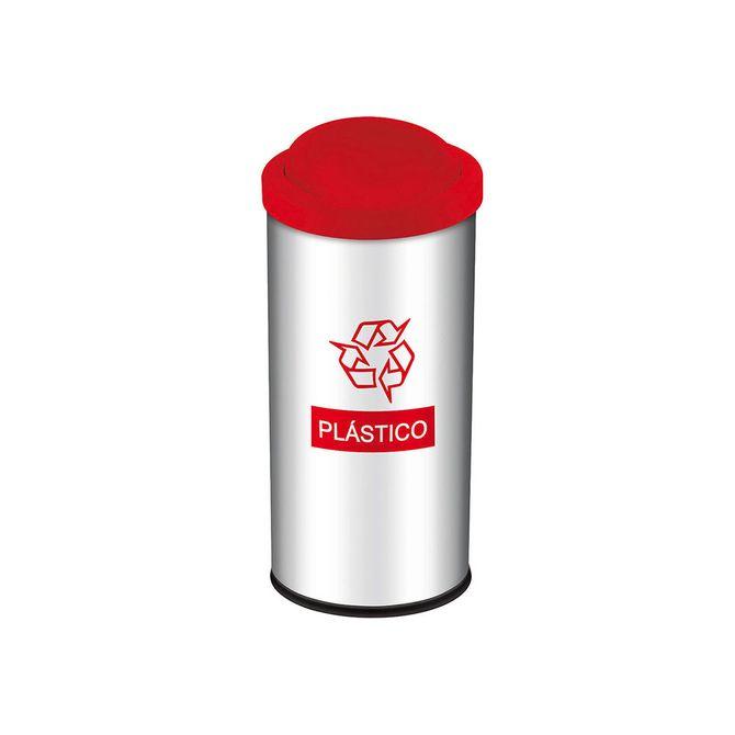 Lixeira-Seletiva-com-Tampa-Basculante-Vermelha-para-Plastico-3100-206---Brinox
