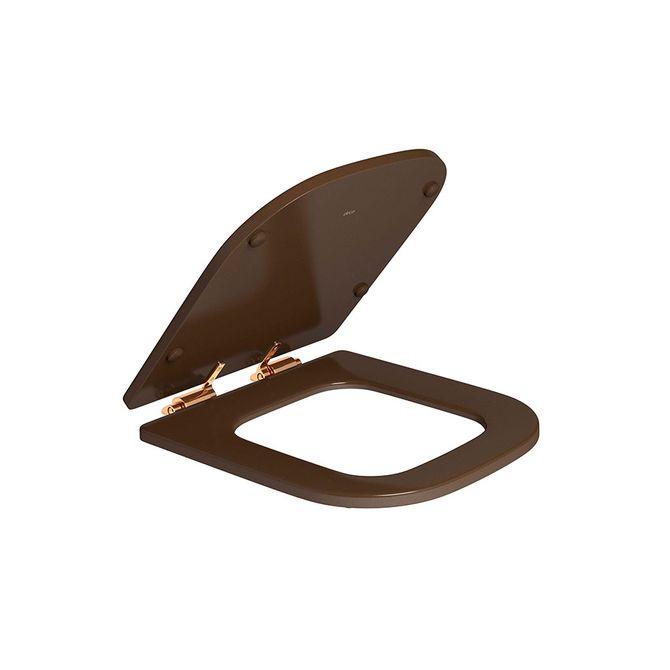 Assento-Poliester-Marrom-Fosco-com-Slow-Close-e-Ferragem-Red-Gold-para-o-Modelo-Piano-AP337---Deca1
