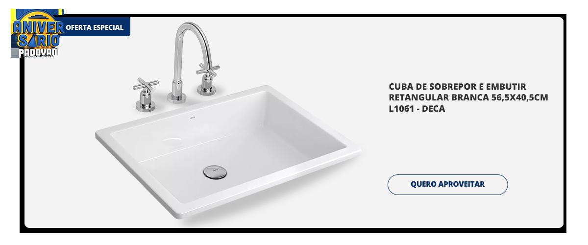 Aniversario Padovani - Cuba de sobrepor e embutir retangular branca 565x405cm l1061 - deca