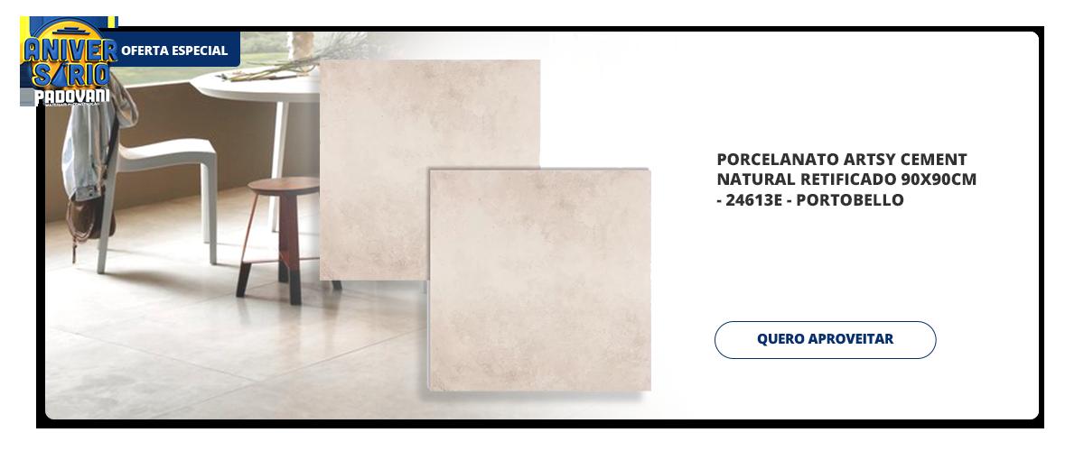 Aniversario Padovani - Porcelanato artsy cement natural retificado 90x90cm - 24613e - portobello