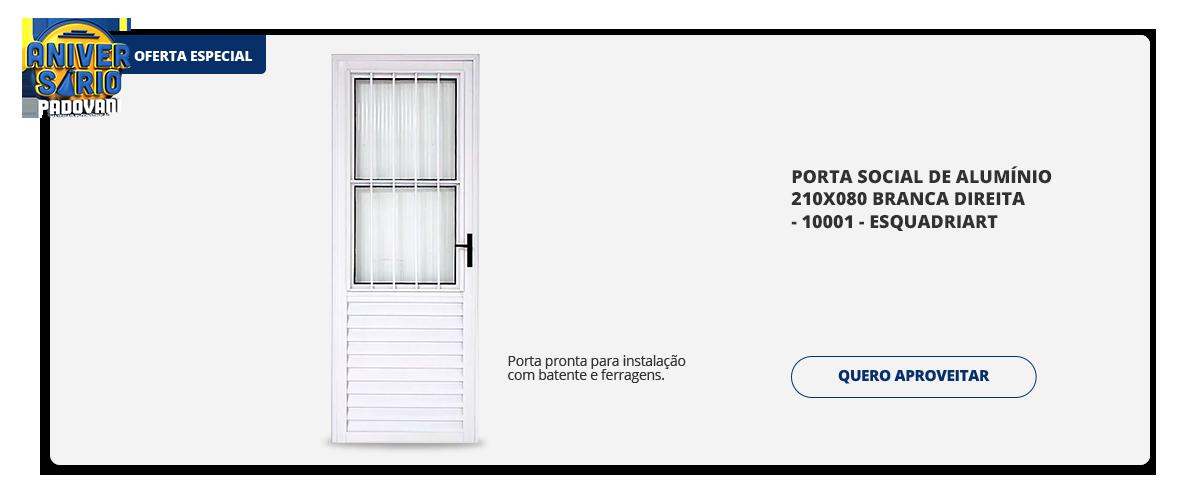 Aniversario Padovani - Porta social de aluminio 210x080 branca direita - 10001 - esquadriart