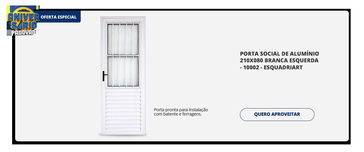 Aniversario Padovani - porta social de alumínio 210x080 branca esquerda - 10002 - esquadriart