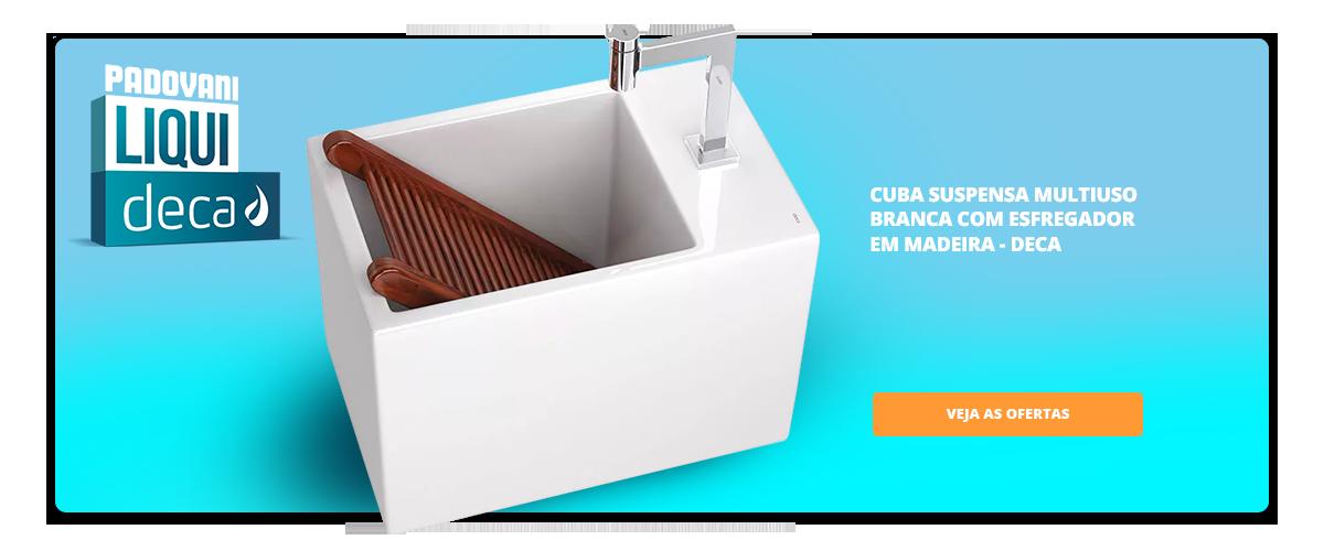 Liquedeca - Cuba Suspensa Multiuso Branca Com Esfregador Em Madeira 34,5l 35,5x56,5cm L116d - Deca