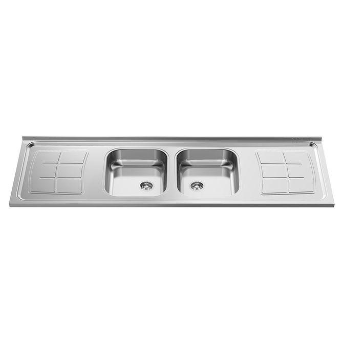 Pia-para-Cozinha-Dupla-em-Aco-Inox-430-Bali-180x53cm-com-2-Cubas-35x40cm---GhelPlus