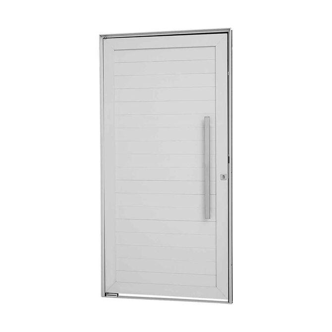 Porta-Social-Pivotante-Aluminio-Branca-Alumifort-216x100x8cm-Abertura-Direita-com-Lambris-Horizontais-e-Puxador---Sasazaki