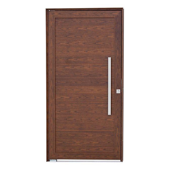 Porta-Social-Pivotante-Aluminio-Madeira-Alumifort-216x100x8cm-Abertura-Direita-com-Lambris-Horizontais-e-Puxador---Sasazaki