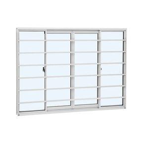 Janela-de-Aluminio-de-Correr-AlumiSlim-Branca-com-Grade-Horizontal-4-Folhas-100x150x654cm---Sasazaki
