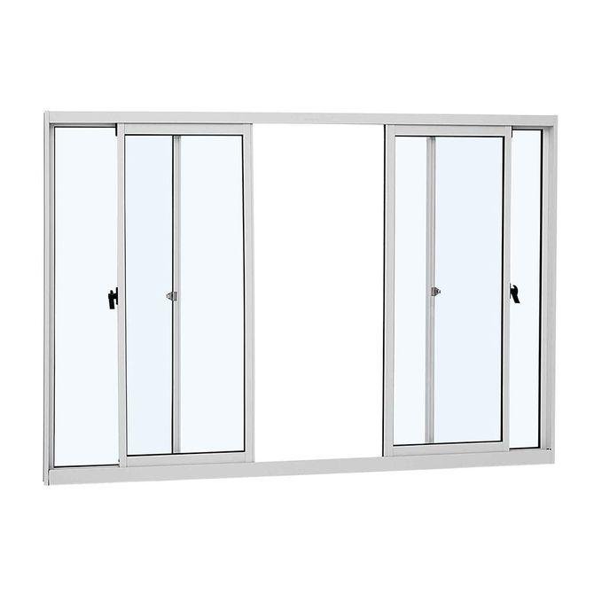 Janela-de-Aluminio-de-Correr-AlumiSlim-Branca-sem-Grade-4-Folhas-100x150x474cm---Sasazaki