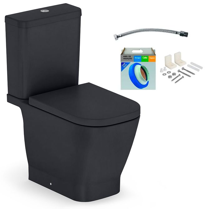 Kit-Bacia-com-Caixa-Acoplada-e-Assento-Gap-Onix---Conjunto-de-Fixacao-Flexivel-e-Anel-de-Vedacao---Roca