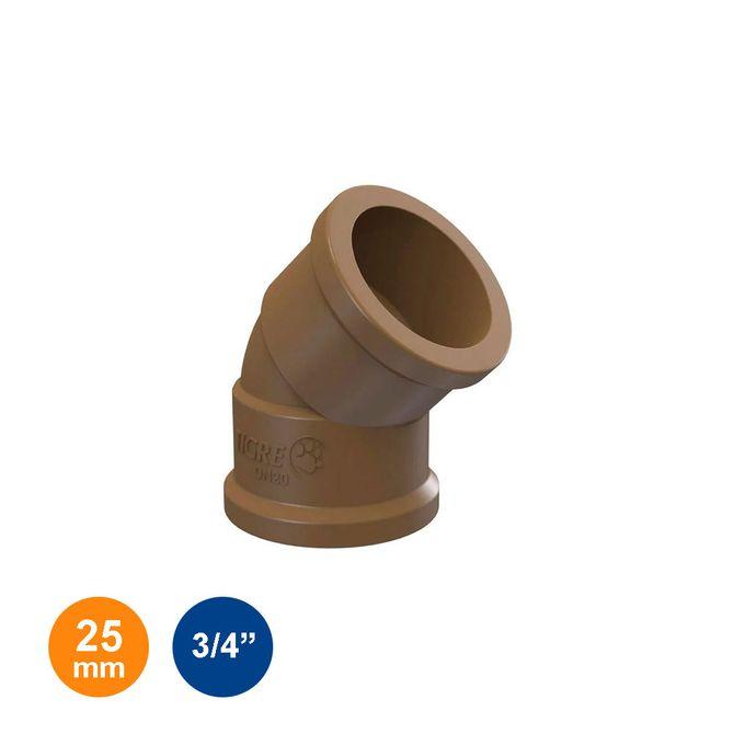 Joelho-45°-Marrom-Soldavel-25mm---3-4---Tigre